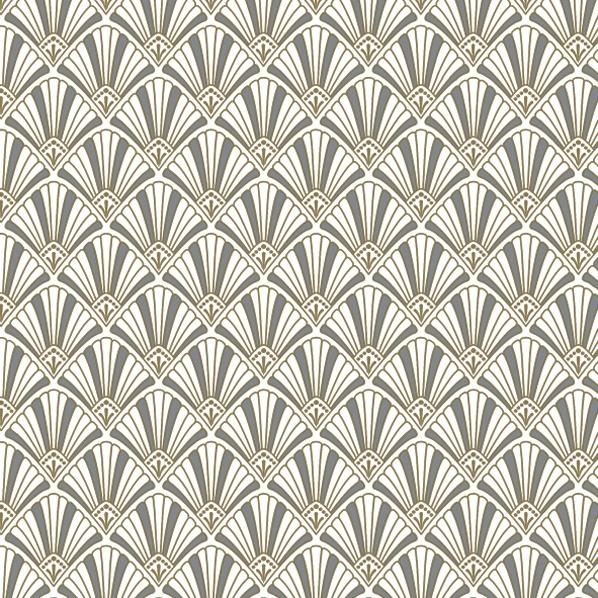 Servietten 33x33 cm - Art Deco Muster Gold und Silber