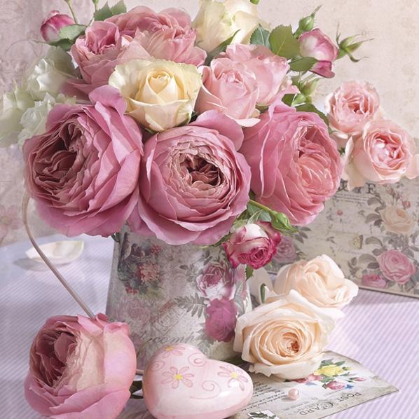 Servietten 33x33 cm - Rosa Rosen in Vintage Vase