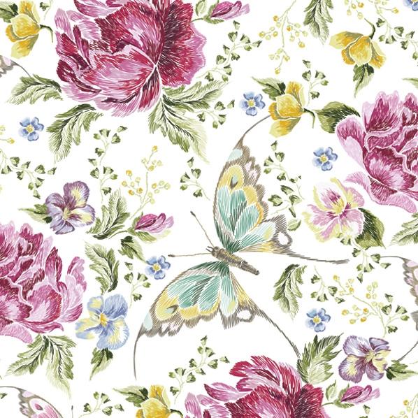 Servietten 33x33 cm - Stickerei Blumen und Schmetterlinge