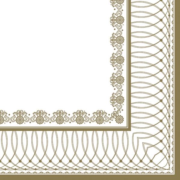 Servietten 33x33 cm - Gold Grafikrahmen
