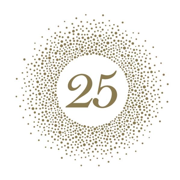 Servietten 33x33 cm - 25th Birthday Gold and Pearl Effect