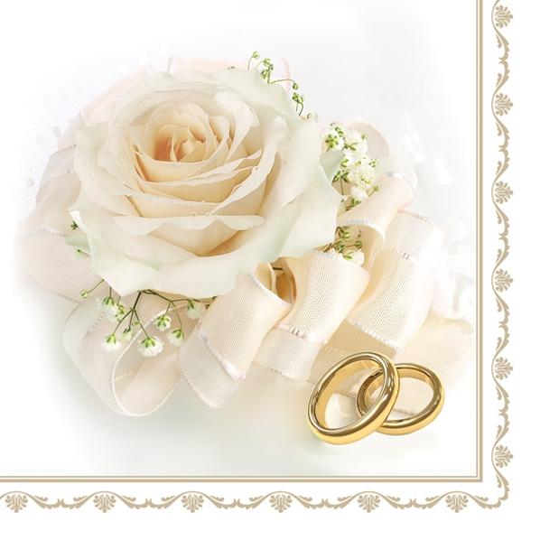 Servietten 33x33 cm - Wedding Rings & White Rose