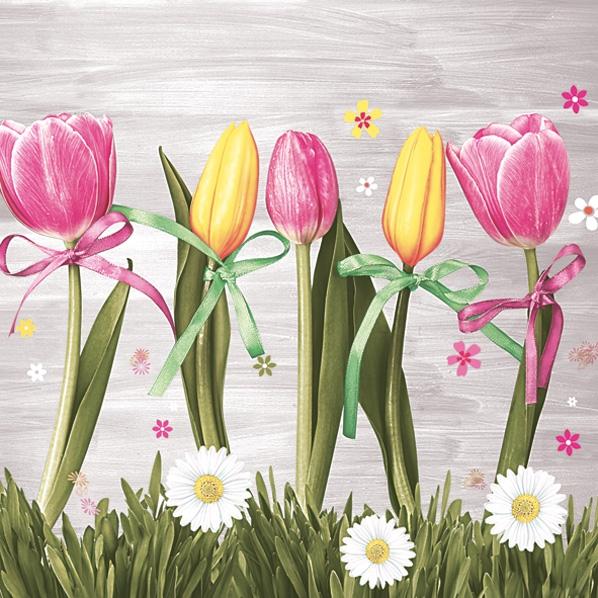 Servietten 33x33 cm - Rosa & Gelbe Tulpen