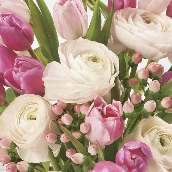Servietten 33x33 cm - Pastellrosa Blumen