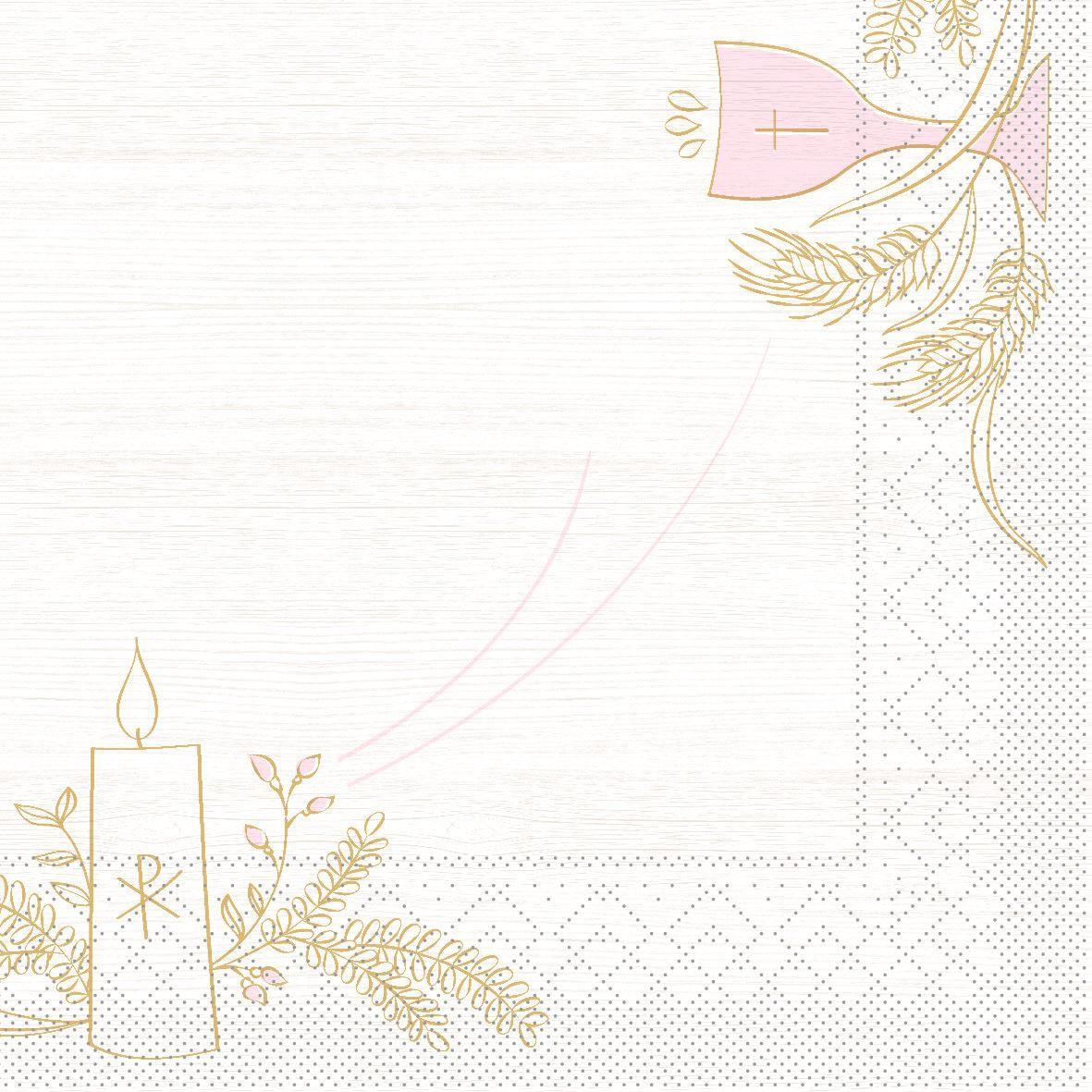 Tissue Servietten 33x33 cm - Kommunion/Bestätigung (rosa/grau)