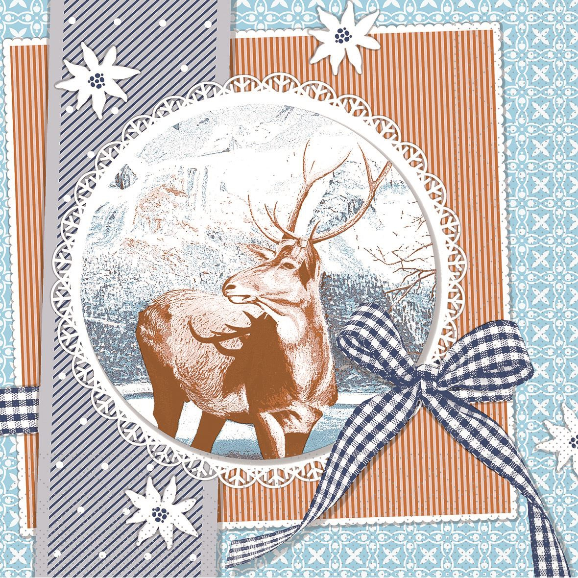 Tissue Servietten 33x33 cm - Finne (blau)