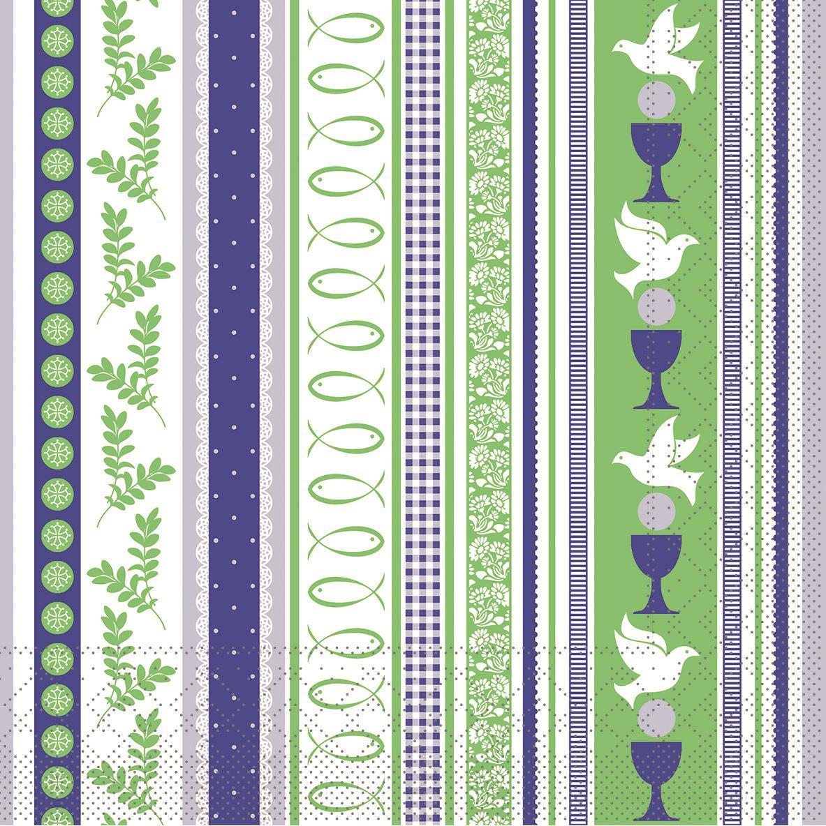 Tissue Servietten 33x33 cm - Kommunion/Bestätigung (blau/grün)