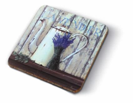 Kork Untersetzer - Lavendel auf dem Land