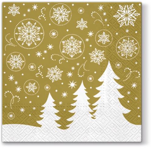 Servietten 33x33 cm - Fairy Forest (gold)