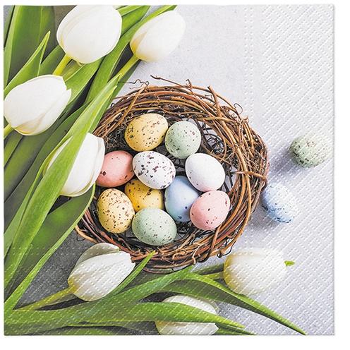 Servietten 33x33 cm - Eier und Tulpen