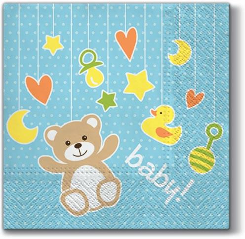 Servietten 33x33 cm - Babyspielzeug (hellblau)