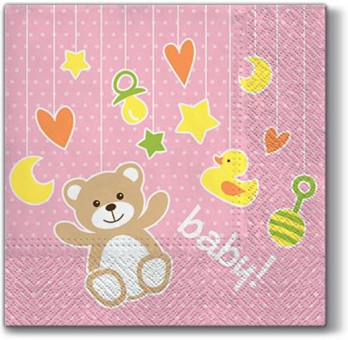 Servietten 33x33 cm - Baby Toys (light pink)
