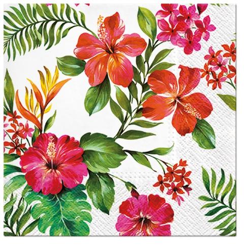 Servietten 33x33 cm - Hawaiianische Blumen
