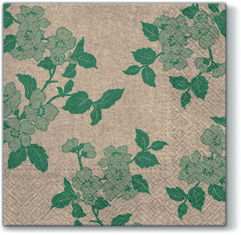 Servietten 33x33 cm - Wir pflegen Blume & Lanze (grün)