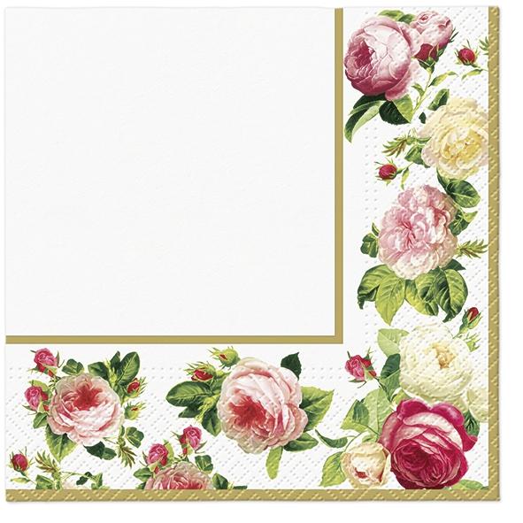 Servietten 33x33 cm - Rosy Frame (gold)