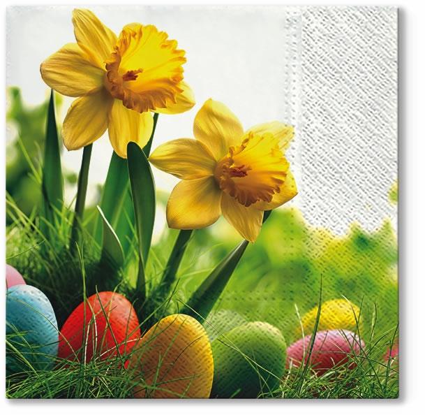 Servietten 33x33 cm - Narzissen mit Eiern