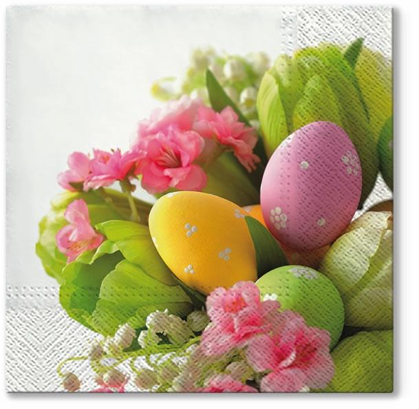 Servietten 33x33 cm - Blumenstrauß mit Eiern