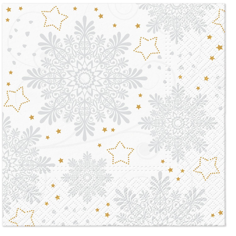 Servietten 33x33 cm - Snowflakes (Silver)