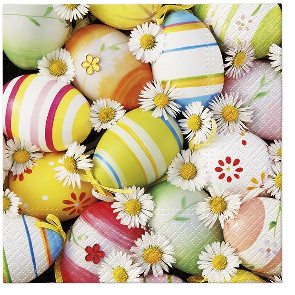 Servietten 33x33 cm - Gänseblümchen zwischen den Eiern