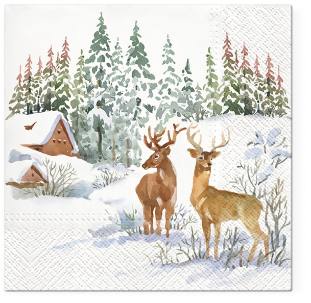 Servietten 33x33 cm - Deers on snow