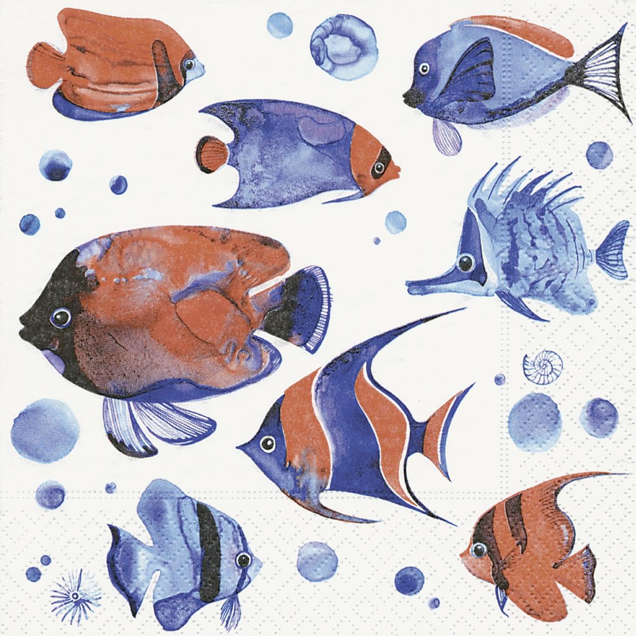 Servietten 25x25 cm - Tropische Fische