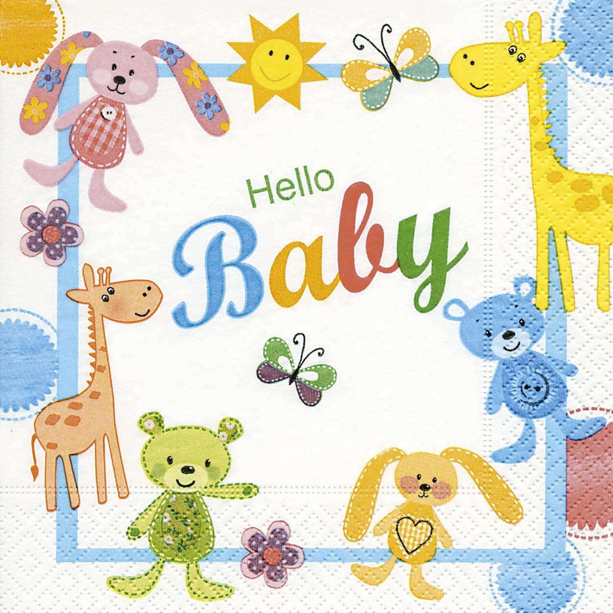 Servietten 33x33 cm - Hallo Baby