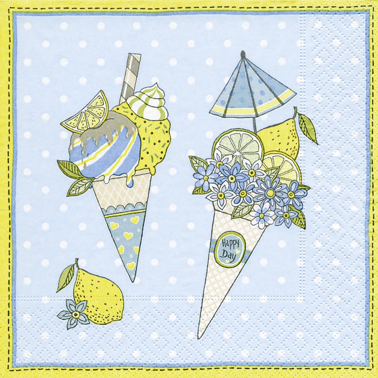 Servietten 33x33 cm - Ice cream cones