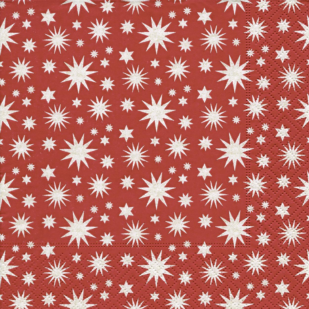 Servietten 33x33 cm - A lot of stars red