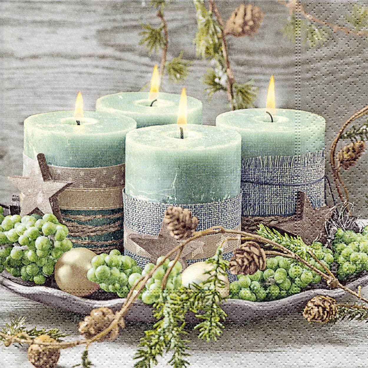 Servietten 33x33 cm - Four green candles