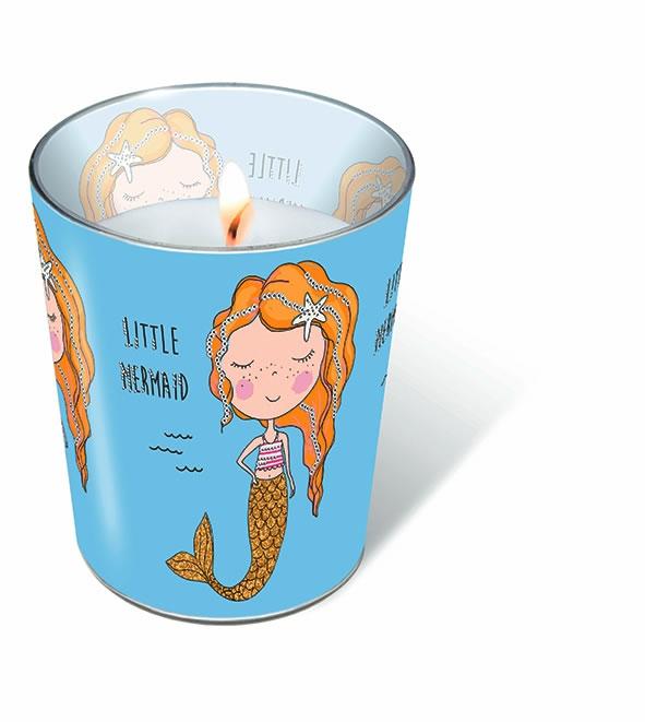 Glaskerze - Kleine Meerjungfrau