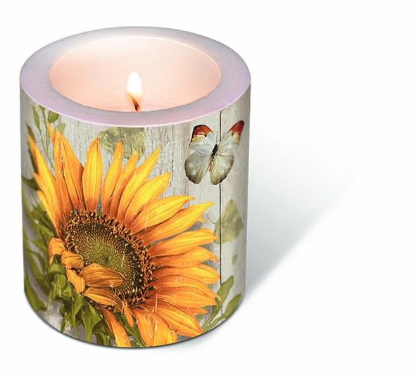 Dekorkerze - Vintage Sonnenblume