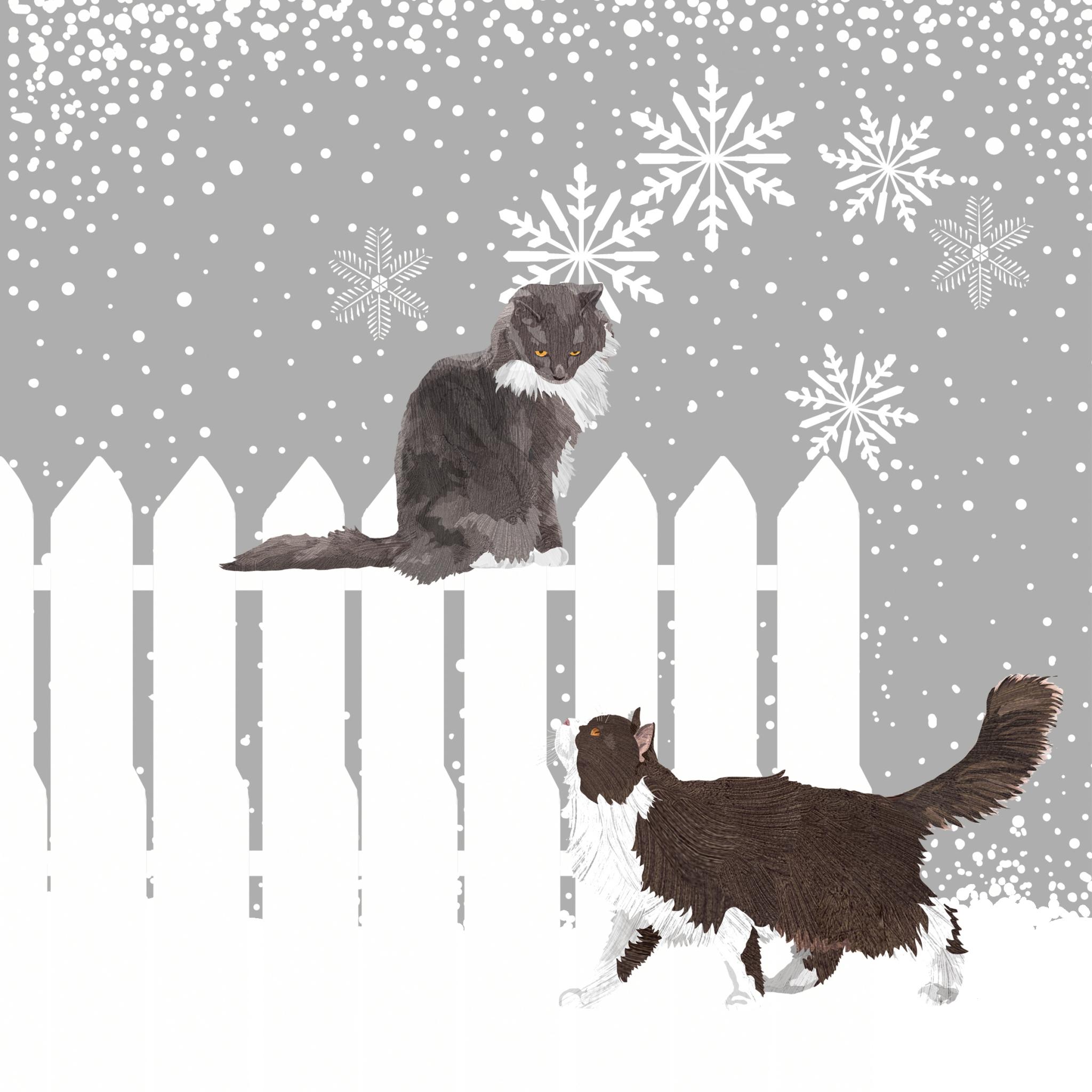 Servietten 33x33 cm - Schneefall-Katzen