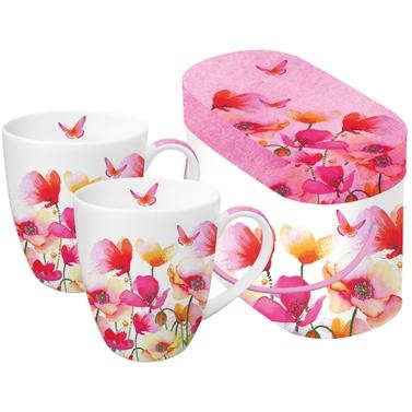 Porzellan-Henkelbecher - Aquarell Mohnblumen & Gänseblümchen
