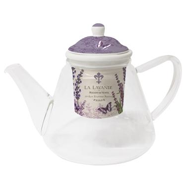 Glas Teekanne glas teekanne la lavande bei servietten wimmel schweiz