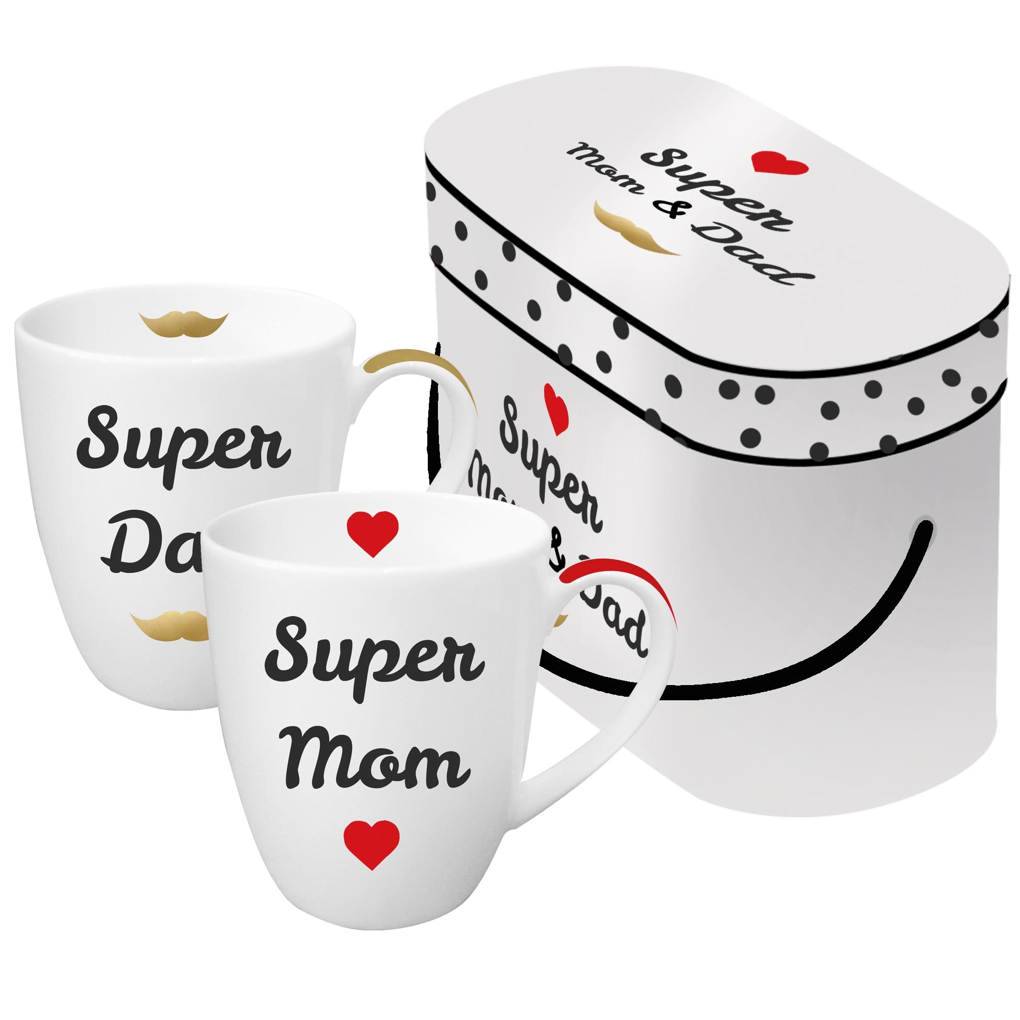 Porzellan-Henkelbecher - Super Mama & Papa echtes Gold