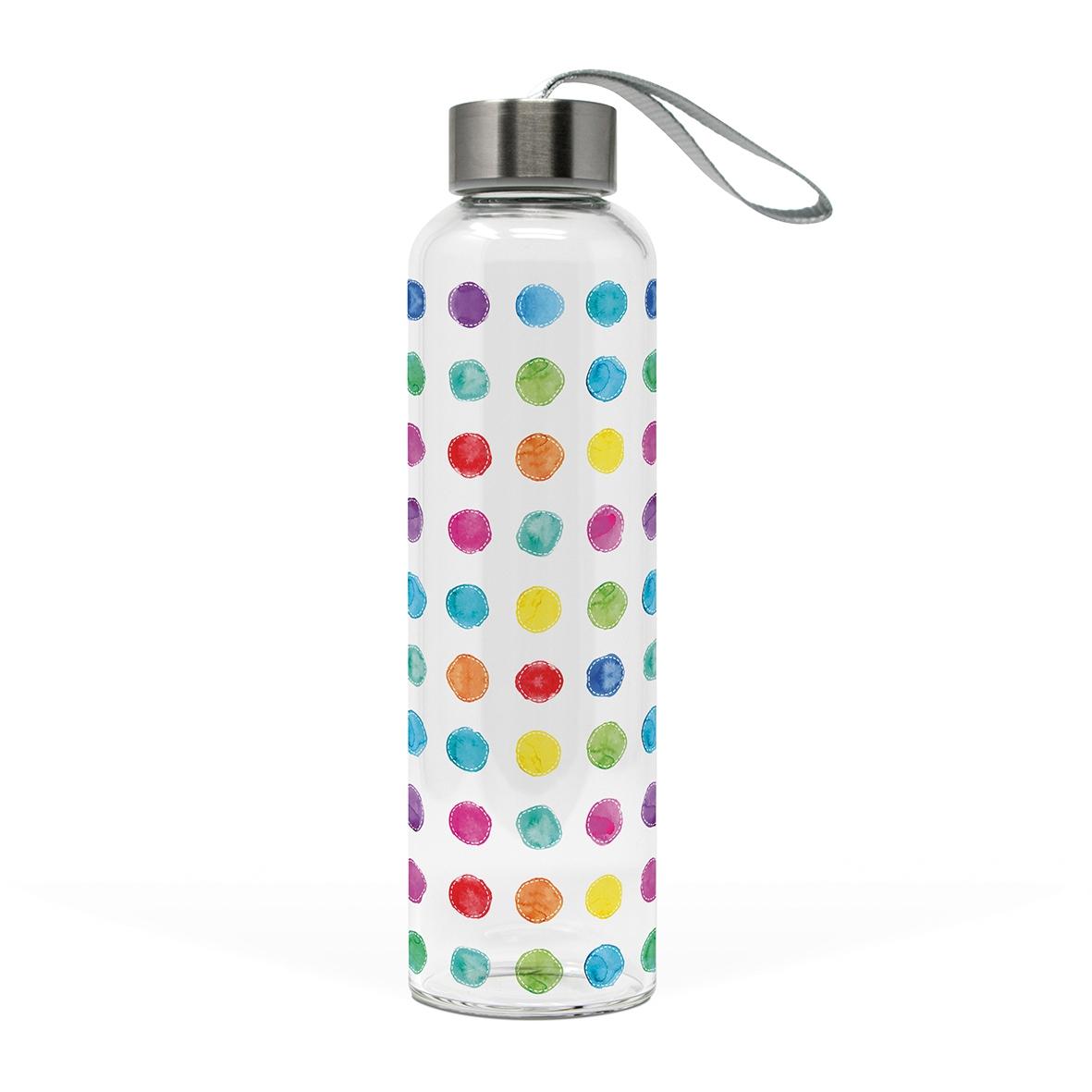 Glasflasche - Aquarellpunkte