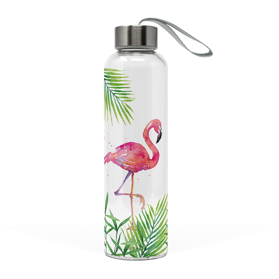Glasflasche - Tropischer Flamingo