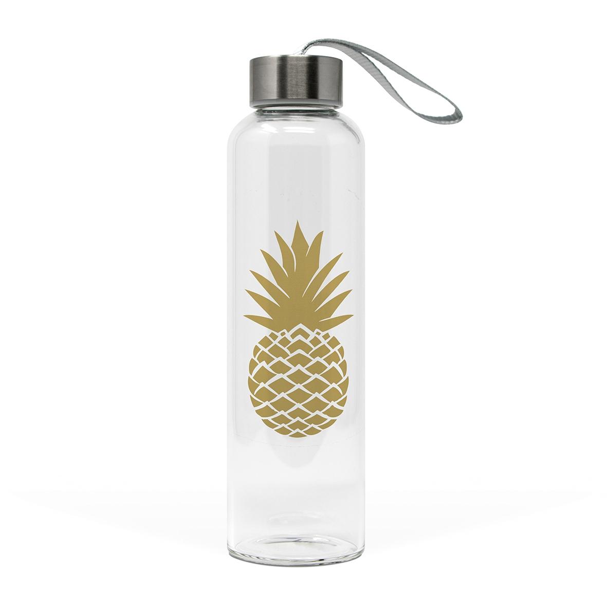 Glasflasche - Ananas echtes Gold