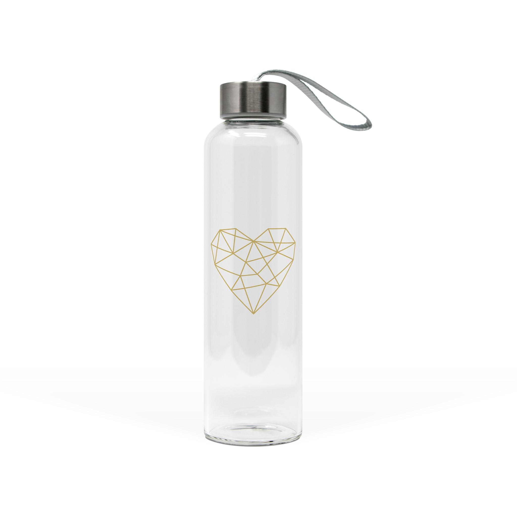 Glasflasche - Geometrisches Herz aus echtem Gold