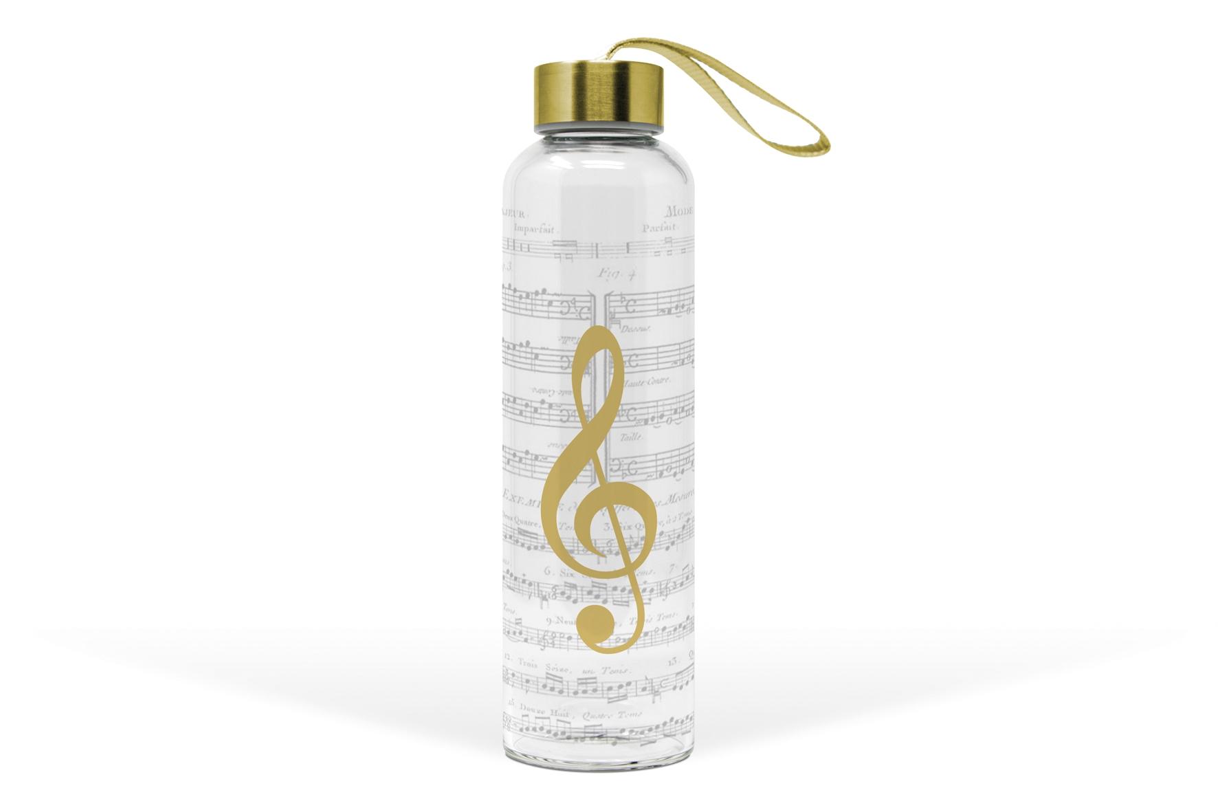 Glasflasche - Ich liebe Musik aus echtem Gold