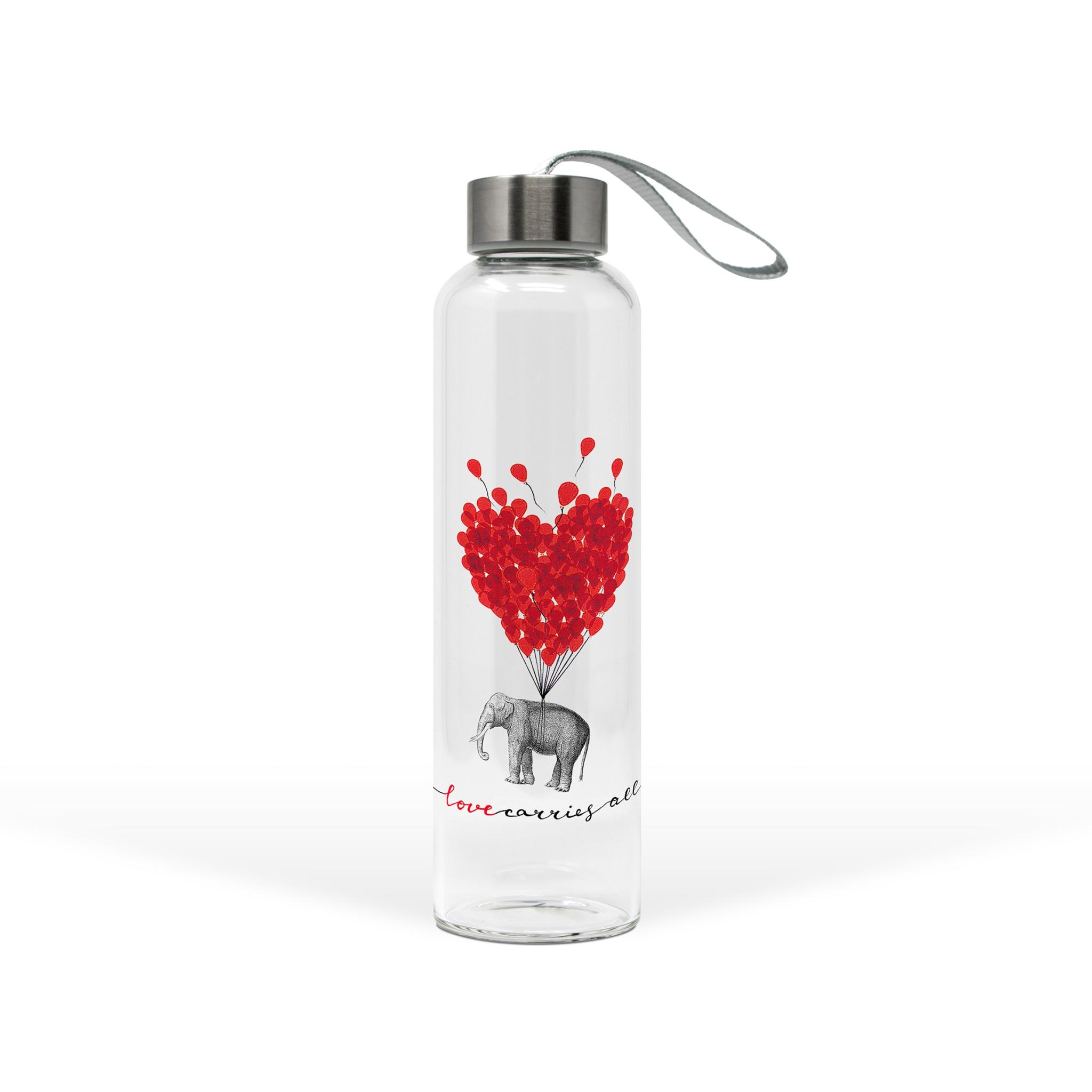 Glasflasche - Liebe trägt alles