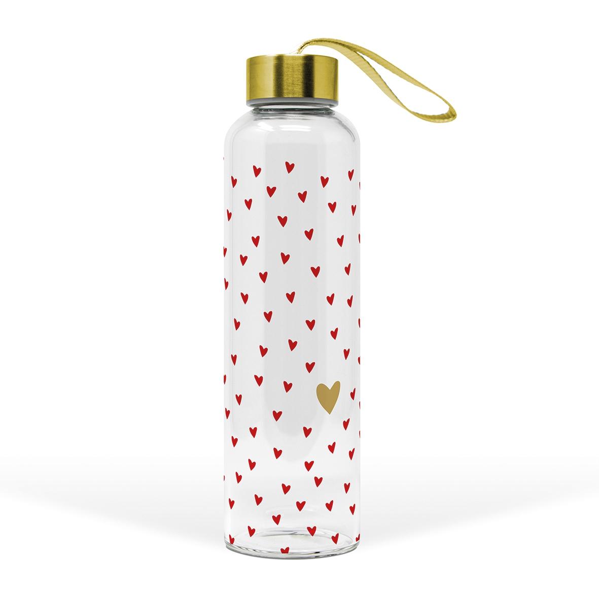 Glasflasche - Kleine Herzen echtes Gold