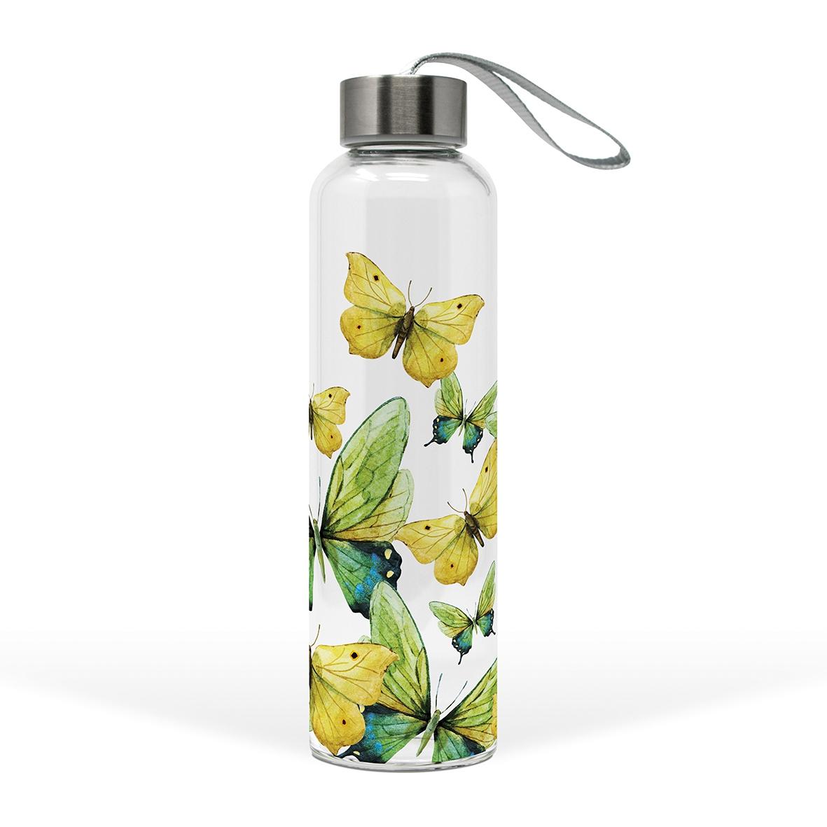 Glasflasche - Grüne Schmetterlinge
