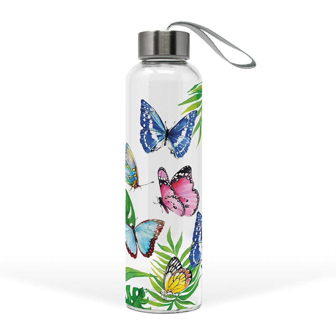 Glasflasche - Tropische Schmetterlinge