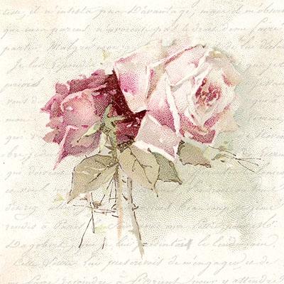 Servietten 33x33 cm - Vintage Rose Gedicht
