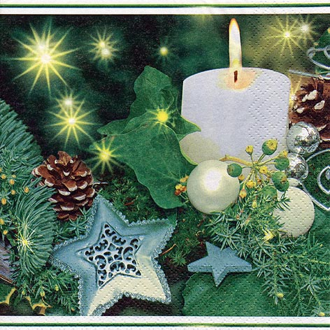 Servietten 33x33 cm - Weiße Kerze & Sterne