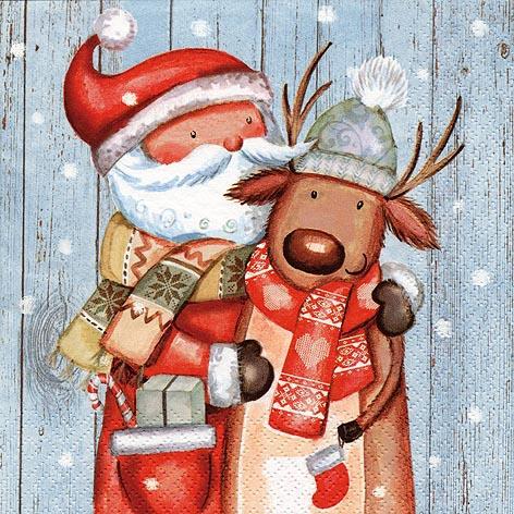 Servietten 33x33 cm - Weihnachtsmann & Rentier