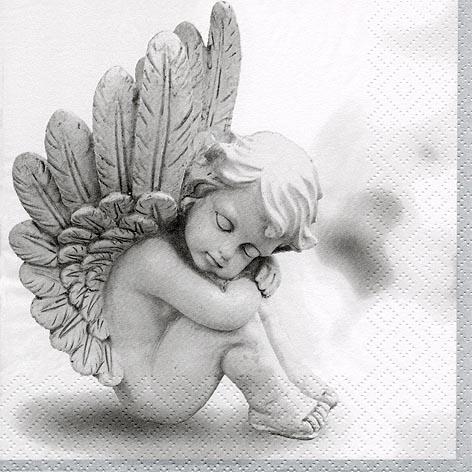 Servietten 33x33 cm - Träumender Engel grau