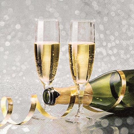 Servietten 33x33 cm - Champagnerflöten