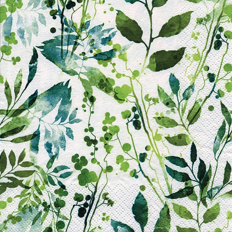 Servietten 33x33 cm - Boho Blätter & Kräuter grün